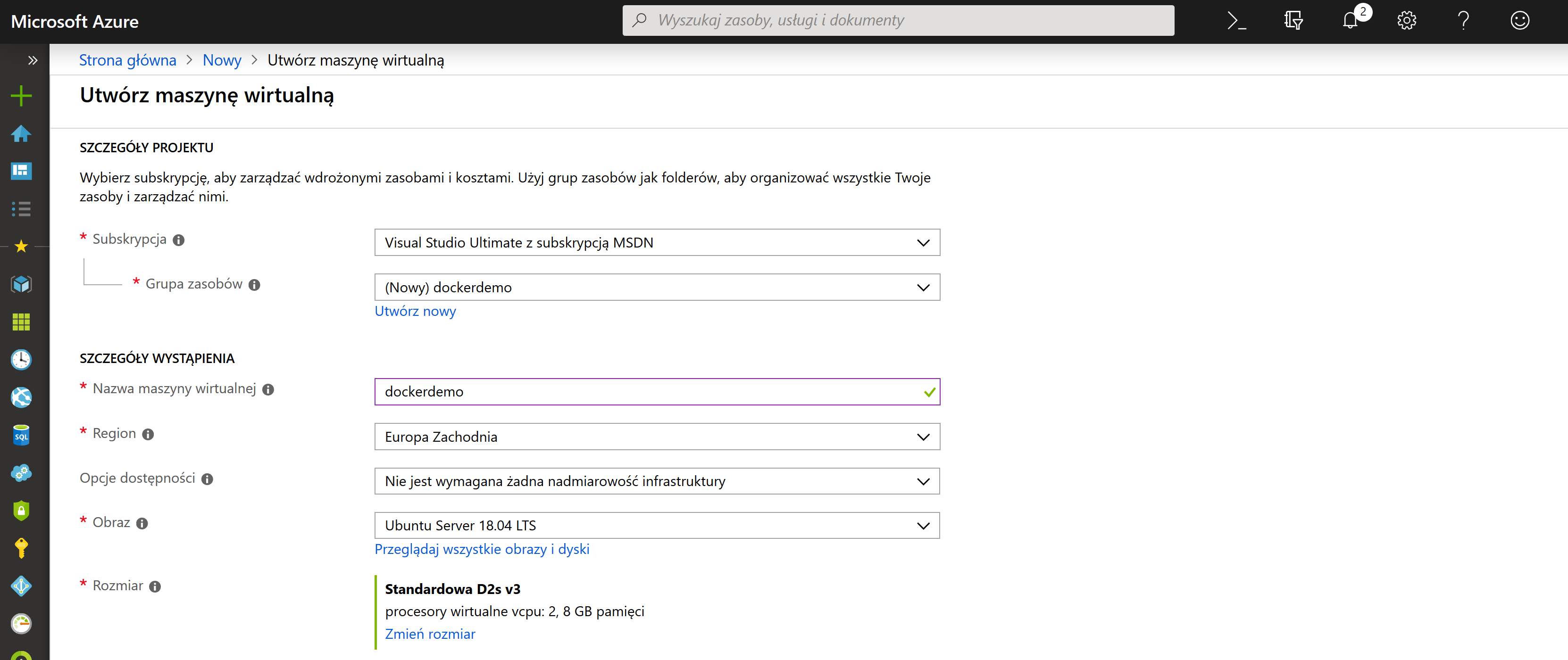 Docker Ubuntu Azure zdj.3